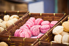 Macarons assortment in a wickered boxes Royalty Free Stock Photography