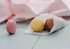 Macarons in backing paper cornet Stock Photography