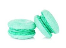 Macarons bleu vert de couleur Images stock