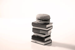Macarons and books. Two macarons and some miniature books Stock Image