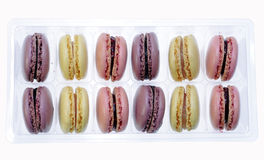 macarons in a box on white Royalty Free Stock Photography