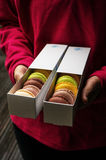 Macarons in boxes Royalty Free Stock Images