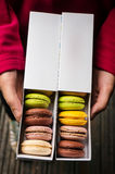 Macarons in boxes Stock Images