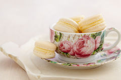 Macarons with buttercream filling in cup with rose patterns Royalty Free Stock Photo