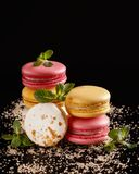 Macarons or cake macaroon with mint on black background