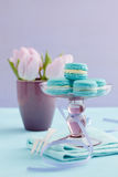Macarons on cake stand Stock Photography