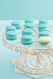 Macarons on cake stand Royalty Free Stock Images