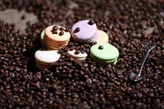 Macarons cakes among coffee beans Royalty Free Stock Image