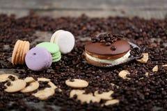 Macarons cakes among coffee beans Stock Photography