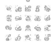 Macarons cakes Well-crafted Pixel Perfect Vector Thin Line Icons 30 2x Grid for Web Graphics and Apps. royalty free illustration