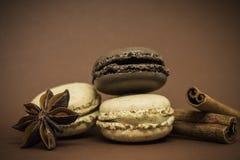 Macarons cannelle et anis de vanille et de chocolat Photo stock