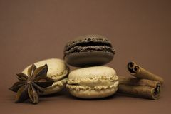 Macarons cannelle et anis de vanille et de chocolat Photos stock
