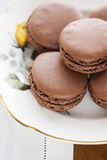 Macarons with chocolate Royalty Free Stock Photos