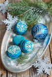 Macarons and Christmas ball. Christmas composition. Stock Image