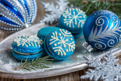 Macarons with Christmas decor. Royalty Free Stock Images