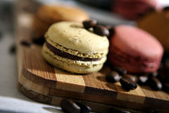 Macarons. Coffee beans and macarons on a wooden trencher Stock Photography