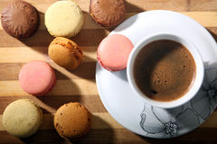 Macarons. Coffee and macarons for breakfast Royalty Free Stock Image