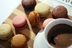 Macarons. Coffee and macarons for breakfast Royalty Free Stock Photo