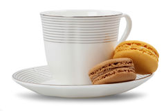 Macarons and coffee cup Royalty Free Stock Photo