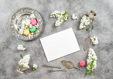 Macarons cokies white paper. Vintage flat lay lilac flowers Royalty Free Stock Images
