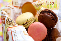 Macarons. Coloured macarons in a bowl Royalty Free Stock Photography