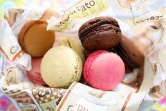 Macarons. Coloured macarons on a napkin Stock Images