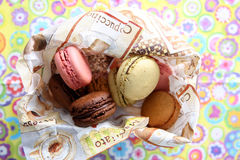 Macarons. Coloured macarons in a napkin Royalty Free Stock Photography