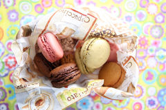 Macarons. Coloured macarons in a napkin Royalty Free Stock Photo