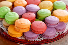 Macarons. Colourful macarons. Shallow depth of field royalty free stock photo