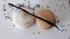 Macarons com baunilha e alfazema imagem de stock