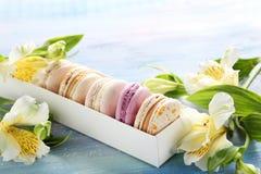 Macarons con alstroemeria Fotografia Stock Libera da Diritti