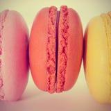 Macarons, con un retro effetto Fotografie Stock Libere da Diritti