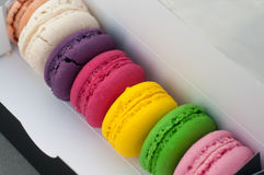 Macarons cookies in box Royalty Free Stock Image