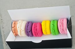 Macarons cookies in box Stock Image