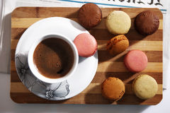 Macarons and a cup of coffee Royalty Free Stock Image
