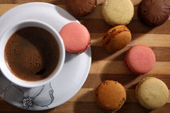 Macarons and a cup of coffee Royalty Free Stock Images