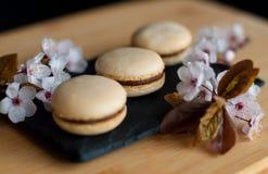 Macarons décorés des fleurs Image stock