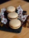 Macarons décorés des fleurs Photos libres de droits