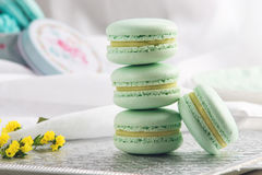 Macarons da hortelã de turquesa Sobremesa delicada francesa para o café da manhã Imagens de Stock Royalty Free