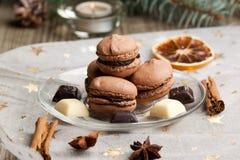 Macarons de chocolat Images libres de droits
