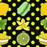 Macarons de la cal y del limón con el modelo inconsútil de la vainilla y de la albahaca Fotos de archivo