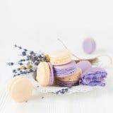 Macarons de la lavanda y de la vainilla Foto de archivo