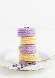 Macarons de la lavanda y de la vainilla en la placa blanca Foto de archivo libre de regalías