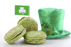 Macarons de vert de jour de St Patricks Photographie stock