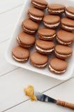 Macarons del chocolate Fotografía de archivo