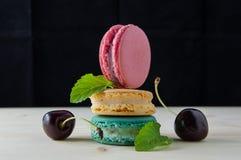 Macarons den franska läckra efterrätten Arkivfoton