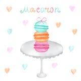 Macarons dibujados mano de la acuarela ilustración del vector