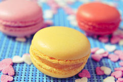 Macarons of different colors and flavors Stock Photos