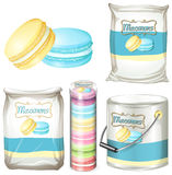Macarons in different packaging Royalty Free Stock Image