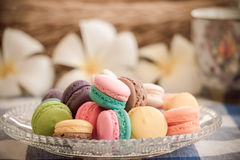 Macarons. In a dish with flowers on green grass backgrounds,soft focus Royalty Free Stock Photography